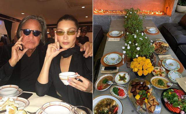 Mohamed dan Bella Hadid, serta makanan yang dibuat sang ayah. (Instagram/ bellahadid)