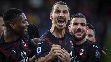 Selebrasi Zlatan Ibrahimovic Usai Cetak Gol Kemenangan AC Milan