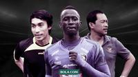 Aliyudin, Makan Konate dan Aji Santoso. (Bola.com/Dody Iryawan)
