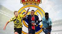 Real Madrid - Erling Haaland, Kylian Mbappe, Benoit Badiashile (Bola.com/Adreanus Titus)