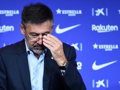Kasus Barcagate yang melibatkan mantan Presiden Klub, Josep Maria Bartomeu terus bergulir. Hari ini rencananya akan digelar sidang di Pengadilan Tinggi Catalonia dan dihadiri oleh Josep Maria Bartomeu serta mantan penasehatnya, Jaume Masferrer. (AFP/Josep Lago)