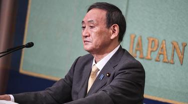 Kepala Sekretaris Kabinet Jepang Yoshihide Suga menghadiri debat menjelang pemilihan kepemimpinan LDP di Tokyo.