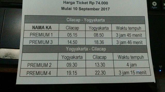Daftar Jadwal Dan Harga Tiket Kereta Cilacap Yogyakarta Beredar