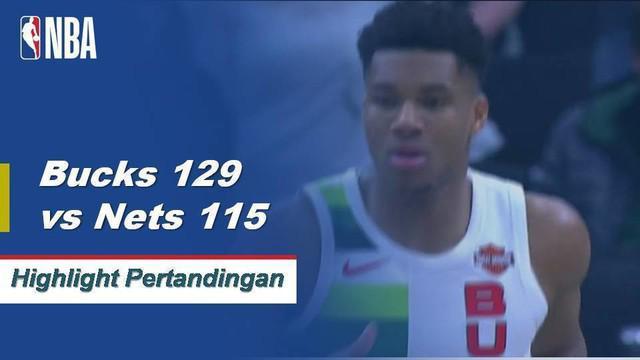 Giannis Antetokounmpo selesai dengan triple-double (31 poin, 10 rebound, 10 assist) dalam kemenangan kandang Bucks atas Nets.