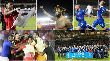 Berikut ini ekspresi kebahagiaan para pemain Islandia dan Panama setelah berhasil membawa negaranya lolos ke Piala Dunia untuk pertama kalinya. (Foto - foto Kolase AFP dan AP).