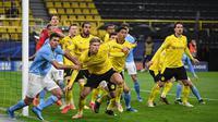 Manchester City menang 2-1 atas Borussia Dortmund pada laga leg kedua perempat final Liga Champions di Signal Iduna Park, Kamis (15/4/2021) dini hari WIB. Hasil tersebut membuat City lolos ke semifinal dengan agregat 4-2. (Ina Fassbender / AFP / POOL)