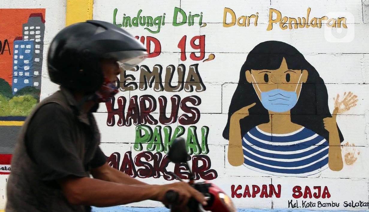 Warga melintas di depan mural yang berisi pesan 3M di Jakarta, Rabu (11/11/2020). Mural tersebut dibuat untuk mengingatkan masyarakat agar menerapkan protokol kesehatan saat beraktivitas sehari-hari. (Liputan6.com/Herman Zakharia)
