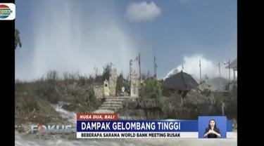 Gelombang tinggi yang masih terus terjadi di berbagai daerah menyebabkan sejumlah struktur bangunan rusak.