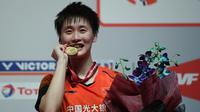 Tunggal putri China, Chen Yu Fei, berhasil menjuarai Malaysia Masters 2020 setelah mengalahkan Tai Tzu Ying dengan skor 21-17 21-10, pada laga final di Kuala Lumpur Sports City, Minggu (12/1/2020). (AFP/Mohd Rasfan)