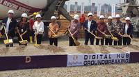 Peletakan batu pertama (groundbreaking) digelar secara simbolis, menandakan dimulainya pembangunan kawasan 'Silicon Valley' Indonesia atau dikenal sebagai Digital Hub di BSD City. Liputan6.com/Dewi Widya Ningrum.
