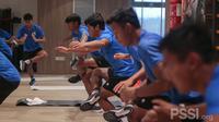 Para pemain Timnas Indonesia U-19 latihan di gym di Spanyol,  Sabtu (9/1/2021). (PSSI).