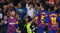 Lionel Messi menorehkan hattrick saat Barcelona menang 4-1 atas Celta Vigo pada laga pekan ke-13 La Liga Spanyol, di Camp Nou, Sabtu (9/11/2019). (AFP/Josep Lago)