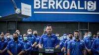 Ketua Umum Partai Demokrat Agus Harimurti Yudhoyono (AHY) menggelar konferensi pers di DPP Demokrat, Jakarta Pusat, Rabu (31/3/2021). AHY mengucapkan terima kasih kepada pemerintah atas keputusan menolak hasil KLB Demokrat di Deli Serdang yang didaftarkan kubu Moeldoko. (Liputan6.com/Faizal Fanani)