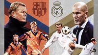 Potret Ronald Koeman dan Zinedine Zidane ketika masih aktif menjadi pemain dan kini menjadi seorang pelatih. (Dok. La Liga)