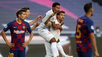 Thomas Muller usai mencetak gol ke gawang Barcelona di perempat final Liga Champions, Sabtu (15/8/2020) dini hari WIB. (Rafael Marchante / POOL / AFP)