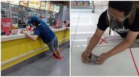 Aksi orang ptuhi tanda 'X' di tempat umum ini posenya kocak banget. (Sumber: Twitter/@txtdrkaumbengek/Facebook/mzycatanjal)