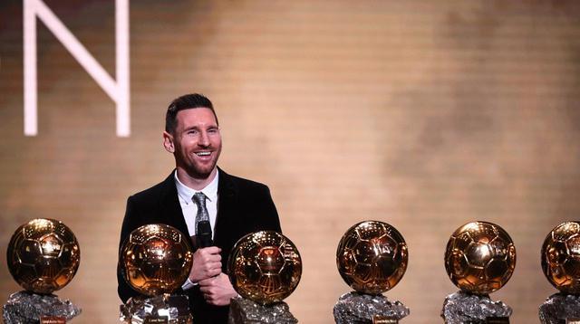 Lionel Messi dan keenam Ballon d'Or yang diraihnya. (AFP/Franck Fife)