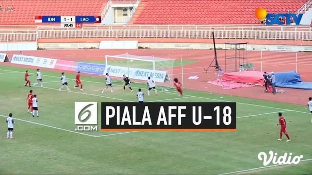 Timnas Indonesia U-18 meraih kemenangan 2-1 atas Laos pada laga keempat babak penyisihan Grup A Piala AFF U-18 2019, Senin (12/8/2019). Kemenangan ini membuat Tim Garuda Nusantara lolos ke semifinal.