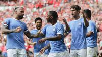 Selebrasi pemain Manchester City di Community Shield 2019 (AP)