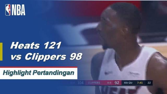 Dwyane Wade mencetak 25 poin dari bangku cadangan dan Justise Winslow menambah 21 poin saat Heat menjebol gawang kemenangan sembilan rumah Clipper dengan mengalahkan mereka, 121-98.