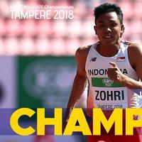 Atlet Indonesia, Lalu Muhammad Zohri, merengkuh medali emas pada Kejuaraan Dunia U-20 nomor lari 100 meter di Finlandia, Rabu (11/7/2018). (Twitter/IFFA)