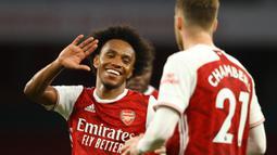 Willian. Gelandang Arsenal yang sebelumnya memperkuat Chelsea selama 7 musim ini, mulai 2013/2014 hingga 2019/2020, telah mencetak 38 gol di ajang Premier League hingga kini. (AFP/Richard Heathcote/Pool)