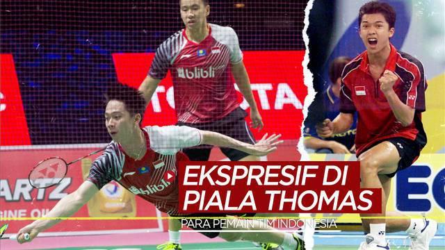 Berita motion grafis ekspresi dari para pemain Tim Bulutangkis Indonesia saat menghadapi momen-momen penting di Piala Thomas.