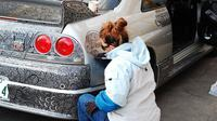 Simak hasil lukisan seorang seniman dengan menggunakan spidol permanen di mobil suaminya. Foto: Brightside.me