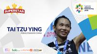 Pebulutangkis China di Asian Games 2018, Tai Tzu Ying. (Bola.com/Dody Iryawan)