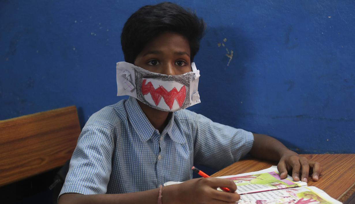 FOTO Lucunya Masker Ala Siswa India Untuk Cegah Corona