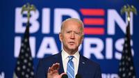 Kandidat Presiden dari Partai Demokrat Joe Biden berbicara di Chase Center di Wilmington, Delaware. | AFP-JIJI