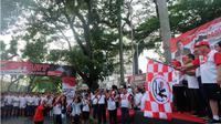 Momentum Sumpah Pemuda, ribuan pelajar di Medan lari untuk Palu. (Liputan6.com/Reza Efendi)