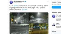 Jakarta banjir usai diguyur hujan deras pada Minggu (23/2/2020) dini hari. (Twitter TMC Polda Metro Jaya)