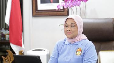 Ida Fauziyah saat membuka sekaligus memberikan arahan dalam acara 'Sinergitas Pengantar Kerja Pusat dalam Era Digitalisasi' di kota Bogor