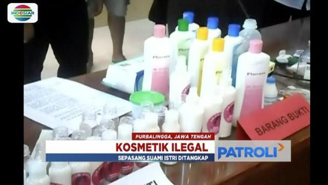 Polisi ciduk pasutri pengoplos dan penjual kosmetik ilegal dengan membuka klinik kecantikan di Purbalingga, Jawa Tengah.