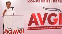 Menkominfo Rudiantara memberikan sambutan pada pelantikan pengurus Asosiasi Olahraga Video Games Indonesia (AVGI) di Jakarta, Selasa (16/7/2019). AVGI resmi hadir sebagai lembaga independen dan profesional yang berkomitmen memajukan industri Esports di tanah air. (Liputan6.com/HO/Bon)