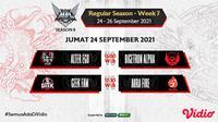 Jadwal dan Live Streaming MPL Indonesia Season 8 Pekan Ketujuh di Vidio, Jumat 24 September 2021. (Sumber : dok. vidio.com)