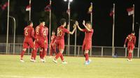 Timnas Indonesia U-22 saat menghadapi Brunei Darussalam di Stadion Binan, Selasa (3/12/2019). Tim Garuda Muda menang telak 8-0 dalam laga ini. (Dok. PSSI)