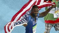Sprinter Amerika Serikat, Justin Gatlin, mengaku tak masalah dengan cemoohan penonton saat dirinya merebut medali perak cabang atletik nomor 100m putra Olimpiade Rio de Janeiro 2016. (REUTERS/Carlos Barria)