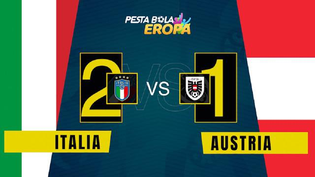 Berita video motion grafis, hasil pertandingan Italia melawan Austria di babak 16 besar Euro 2020.