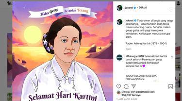 Postingan Presiden Jokowi di akun Instagram-nya mengucapkan Selamat Hari Kartini. (@jokowi)