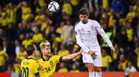 Timnas Spanyol takluk 1-2 dari Swedia pada laga keempat Grup B kualifikasi Piala Dunia 2022 di Friends Arena, Jumat (3/9/2021) dini hari WIB. (AFP/Jonathan NACKSTRAND)