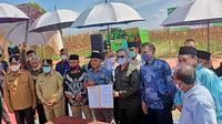 Wakil Menteri Pertanian Harvick Hasnul Qolbi melakukan kunjungan sekaligus panen jagung di desa Agrowisata di Kota Pekanbaru, Riau.