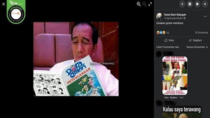 Gambar Tangkapan Layar Foto yang Diklaim Jokowi Membaca Komik Doraemon (sumber: Facebook)