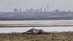 Pemandangan dasar Danau Buyukcekmece di Istanbul, Turki, 21 September 2020. Kota metropolitan terbesar Turki, Istanbul, berusaha mengatasi kekurangan air akibat minimnya curah hujan dan musim panas yang kering. (Xinhua/Osman Orsal)