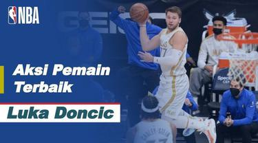 Luka Doncic mencetak point dengan 34 poin, 13 rebound, 9 assist, 2 steal, dan 4 blok untuk memimpin Mavericks atas Hornets, 104-93.