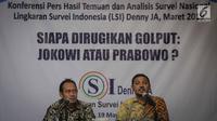 Peneliti LSI Denny JA, Ikrama Masloman dan M Khotib merilis survei bertajuk 'Siapa Dirugikan Golput: Jokowi atau Prabowo?,  Jakarta, Selasa (19/3). Jokowi-Maruf dirugikan jika golput terjadi di segmen minoritas, milenial.  (Liputan6.com/Faizal Fanani)