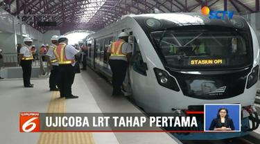 Uji coba pertama light rail transit (LRT) di Palembang berlangsung lancar. Itu artinya, LRT siap digunakan untuk kelancaran Asian Games pada Agustus mendatang.