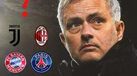 Ilustrasi - Jose Mourinho, Juventus, PSG, AC Milan, Bayern Munchen (Bola.com/Adreanus Titus)