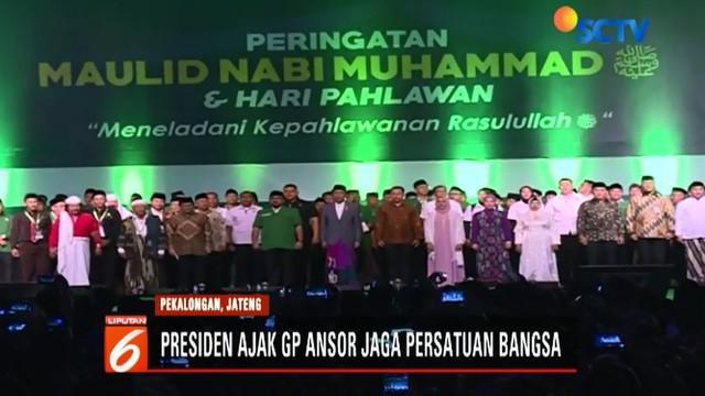 Dalam acara ini, Jokowi mengajak anggota Banser ikut menjaga persatuan bangsa serta merawat kerukunan antar masyarakat Indonesia.